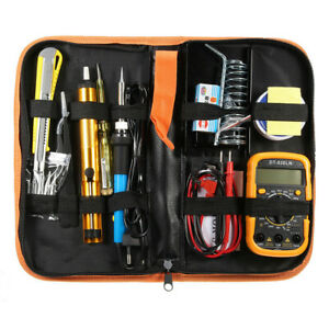 Electric Adjustable Temperature Welding Solder Soldering Iron Multimeter Kit 60w