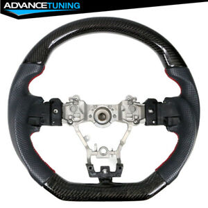 Fits 15 19 Subaru Wrx Steering Wheel Cf Perforated Leather Red Stitching