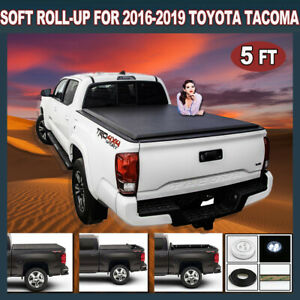Soft Roll Up Tonneau Cover Fit 2016 19 Toyota Tacoma 5ft 60 Inch Bed With Light