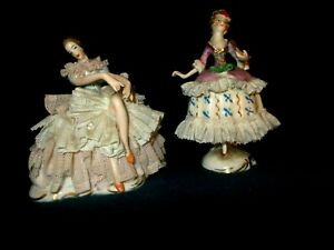 Dresden Lace Figurine Lady Fan Vintage Germany 1930 S Lady Has Nice Cleavage