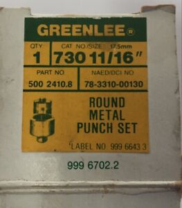Greenlee 730 11 16 500 2410 8 Electrician Round Metal Knock Out Punch Set