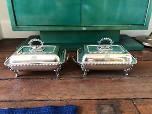 Pair Of Antique George Iv Style Silver Plated Covered Serving Dishes Marked