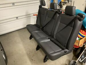2018 Ford Transit Oem Seat With Headrests Seatbelts Black Leather Triple