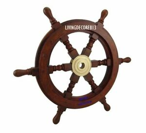 Vintage Nautical Brown Wooden Ship Wheel Boat Steering Wall Decor 18 Inches