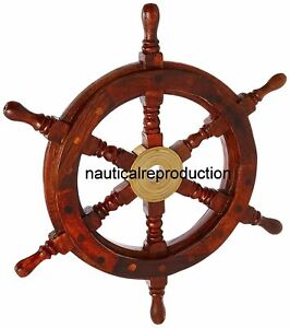 Vintage Wooden Steering Wheel Ship Wheel Nautical Well Decor 18