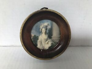 Vintage Wood Round Frame Victorian Pretty Woman Image Print Small Hanging Wall