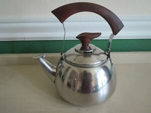 Vintage Atomic Age Tea Kettle Pot Exc Condition Mid Century Modern Stainless