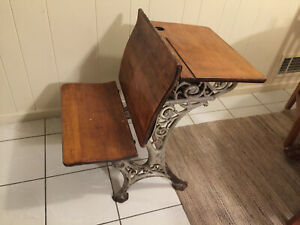 Vintage Child S School Desk Wood Decorative Wrought Iron Seat 12 Folds Up