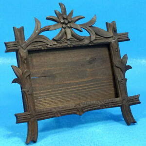 3x5 Antique Black Forest Wood Carving Table Photo Frame Edelweiss Brienz C1920s