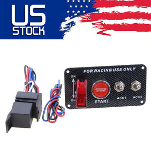 Carbon 12v Car Ignition Switch Panel Engine Start Push Button Led Toggle Racing