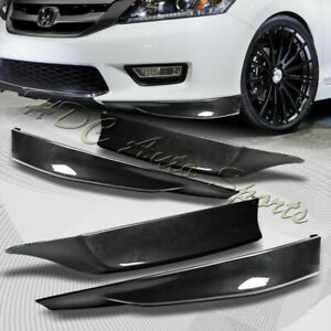 For 13 15 Accord 4 dr Hfp style Carbon Look Front rear Bumper Spoiler Lip 4pcs