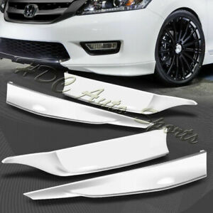 For 13 15 Accord 4 Dr Hfp Style Painted White Front Rear Bumper Spoiler Lip 4pc