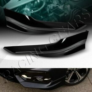 Hfp Style Painted Black Front Bumper Spoiler Lip 2 pcs Fit 14 15 Honda Civic 2dr