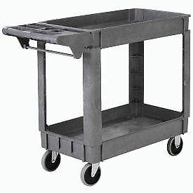 Deluxe Small 2 Shelf Plastic Utility Service Cart 5 Rubber Casters 1 Each