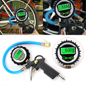 Digital Tire 250psi Inflator With Lcd Pressure Gauge Air Chuck For Truck Car Bike
