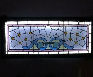 Antique Stained Beveled Jeweled Glass Transom Window 45 1 2 X 20 Salvage