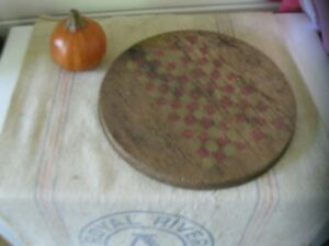 Antique Early Primitive Round Wood Gameboard