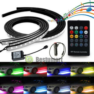 4pcs Led Neon Underglow Light Under Body For Car Rgb Running Colors Musical Sync