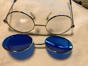 Vtg Round Retro Cobalt Blue Flip Up Welding Sun Snow Eye Protection Glasses