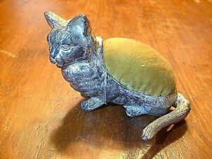 Antique Cast Silvered Figural Cat Pin Cushion