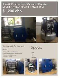 Jun Air Compressor Vacuum Canister Model Of302 120v 60hz 6 6a 1650 Rpm