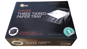 3 Tier Paper Letter Tray Desk Organizer Plastic Black A4 Documents Office Drawer