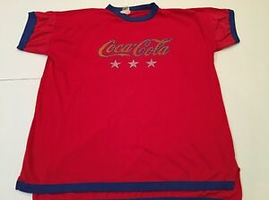 Coca-cola Vintage Style Ringer Red Stars One Size Fits All Shirt Coke
