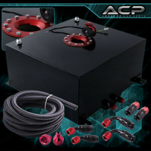 50l 13 Gallons Black Aluminum Fuel Cell Tank Red Cap Oil Line 10an Fittings