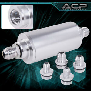 Universal High Pressure Performance Fuel Filter Aluminum Can Tank Fitting Silver