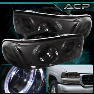 For 99 06 Gmc Sierra Yukon Dual Halo Projector Smoked Headlight Lamp Clear Side