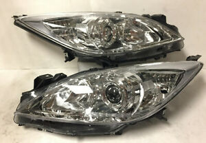Chrome Housing Reflector Clear Lens Projector Headlight For 2010 2013 Mazda 3