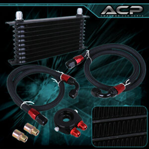 Engine Diff Trans Aluminum Alloy Oil Cooler Kit filter Adapter ss Lines Black