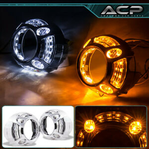 Led Angel Eyes Drl White Amber Universal Headlights Halo Ring Projector Shrouds