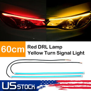 2x 60cm Drl Flexible Led Tube Strip Red Daytime Running Lights Yellow Turn Lamps