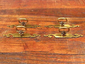 4 Brass Chippendale Style Drawer Pulls Knobs Handles New Old Stock