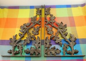 Vintage Wrought Cast Iron Shelf Brackets Oak Leaf Acorn 12 5 X 21 5 Ybor City