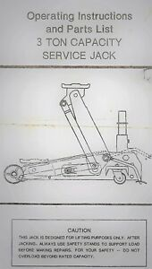 Operating Instructions Parts List For 3 Ton Capacity Service Jack T8350 Lifting