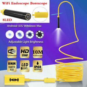 Wifi Endoscope Waterproof 8led Borescope Inspection Hd Camera For Android Ios