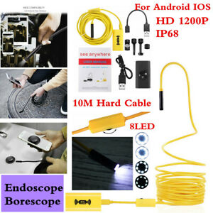 10m 8mm Android Ios 8led Endoscope Ip68 Hd Snake Borescope Usb Inspection Camera