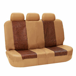 Pu Textured Leather Bench Seat Covers tan Split