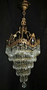 Vtg French Cast Brass Wedding Cake Crystal Chandelier Ceiling Fixture 1940 S