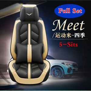 Full Set Beige Pu Leather Seat Cover Cushions Car Interior Styling Accessories