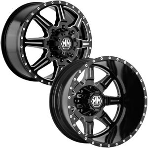 Set Of 6 mayhem Monstir Dually 19 5 8x6 5 Black Wheels Rims lugs Included