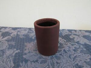 Round Pens Pencils Cup Holder Leather Wrapped Metal Desk Organizer Brown