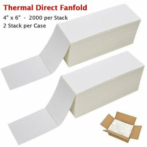 4000 Fanfold 4 x 6 Direct Thermal Labels Shipping Barcode Labels Zebra 2844 Ups