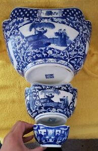 Vintage Chinese Blue And White Porcelain Nesting Bowls Mark