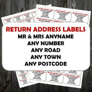 Personalised Sticky Self Adhesive Return Address Labels Pre Printed Mini Size