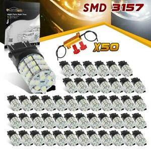 50 Amber White Switchback Led Turn Signal Bulb 3157 60 epistar 3528 smd resistor