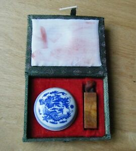 Vintage Chinese Carved Soapstone Seal Stamp Marissa In Box