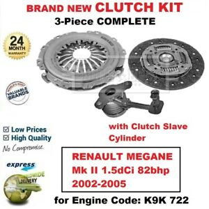 For Renault Megane Mk Ii 1 5dci 82bhp 2002 2005 Brand New 3pc Clutch Kit And Csc